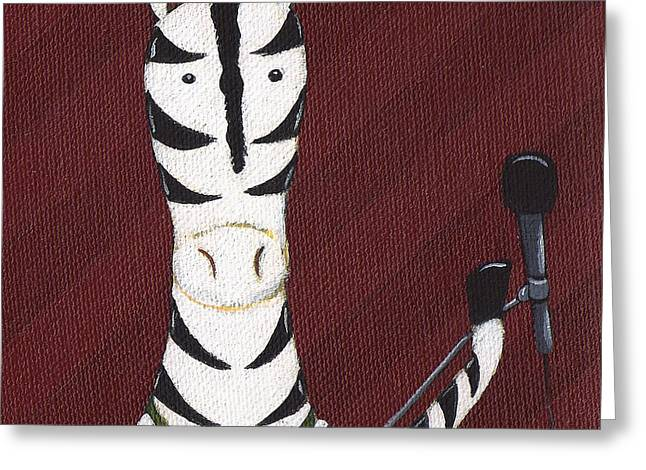 Singer Paintings Greeting Cards - Rock n Roll Zebra Greeting Card by Christy Beckwith