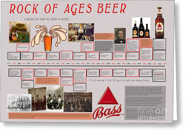 Burton Mixed Media Greeting Cards - Rock of Ages Bass Beer Timeline Greeting Card by Megan Dirsa-DuBois