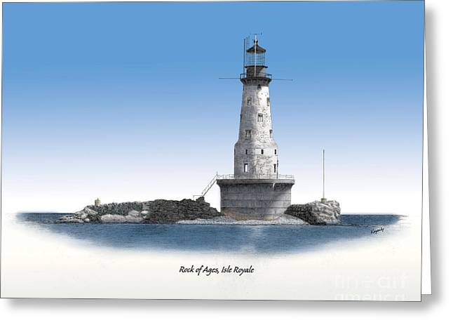 Darren Mixed Media Greeting Cards - Rock Of Ages Lighthouse Titled Greeting Card by Darren Kopecky