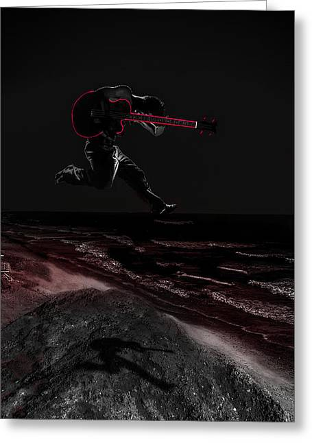 Self-portrait Photographs Greeting Cards - Rock On Greeting Card by Brian Yasumura Jr