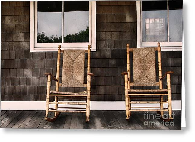 """front Porches"" Greeting Cards - Rock On Greeting Card by Colleen Kammerer"