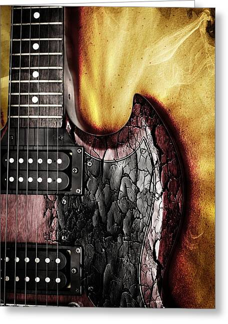 Rock On Gibson  Greeting Card by Aaron Berg