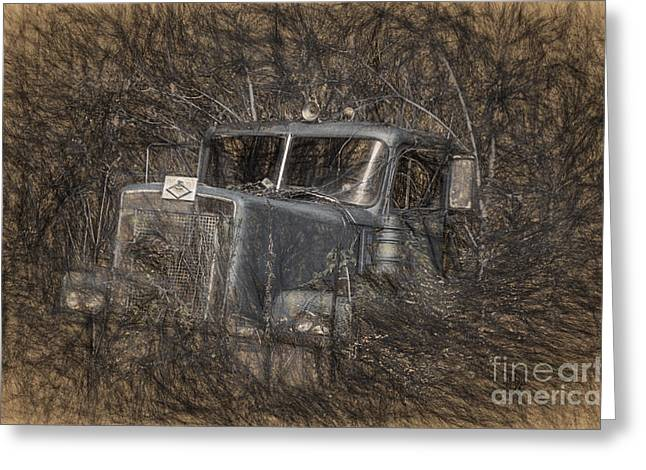 Blue Truck Greeting Cards - Rock On Road Warrior Greeting Card by Lois Bryan