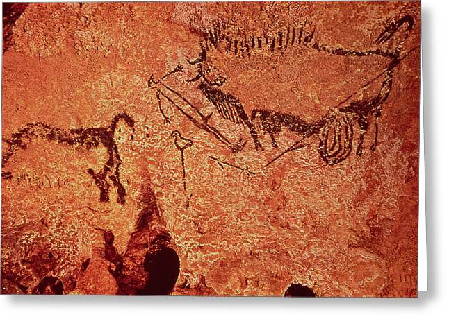 Buffalo Greeting Cards - Rock Painting Of A Hunting Scene, C.17000 Bc Cave Painting Greeting Card by Prehistoric