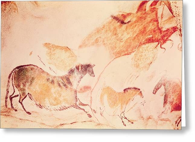 Movement Photographs Greeting Cards - Rock Painting Of Horses, C.17000 Bc Cave Painting Greeting Card by Prehistoric