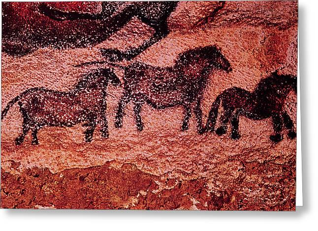 Prehistoric Greeting Cards - Rock Painting Of Tarpans Ponies, C.17000 Bc Cave Painting Greeting Card by Prehistoric