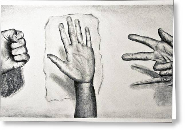 Scissors Drawings Greeting Cards - Rock Paper Scissors Greeting Card by Cindy Nowotny