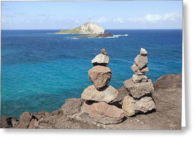 Offshore Rocks Greeting Cards - Rock Pile and Rabbit Island Greeting Card by Brandon Tabiolo
