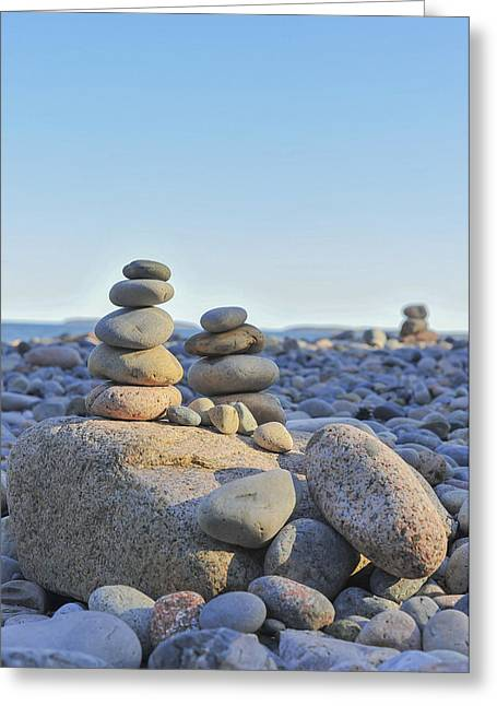 Maine Beach Greeting Cards - Rock Piles Zen Stones Little Hunters Beach Maine Greeting Card by Terry DeLuco