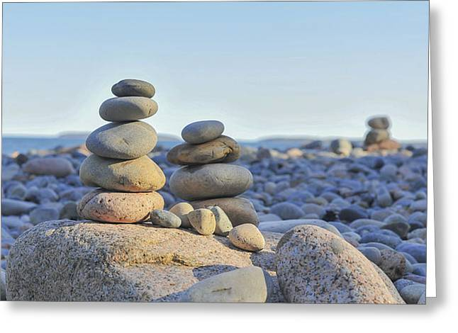 Rock Piles Zen Stones Little Hunters Beach Maine Greeting Card by Terry DeLuco