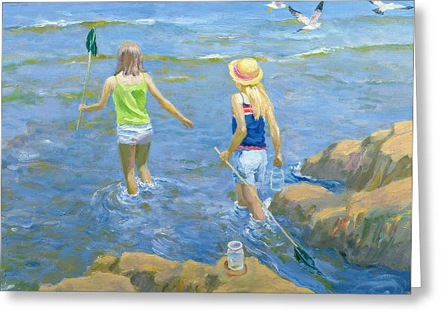 Sun Hat Greeting Cards - Rock Pool Oil On Board Greeting Card by William Ireland