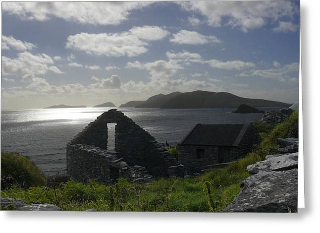 Stones Digital Art Greeting Cards - Rock Ruin by the Ocean - Ireland Greeting Card by Mike McGlothlen