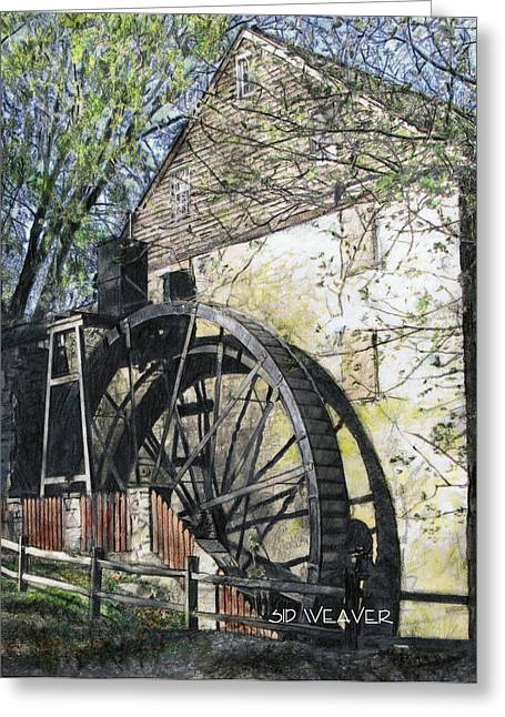 Grist Mill Drawings Greeting Cards - Rock Run Mill Greeting Card by Sid Weaver