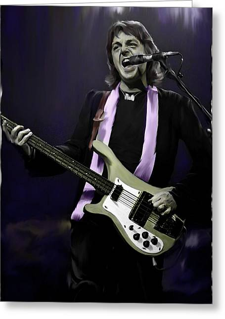 The Beatles Images Greeting Cards - Rock Show III Paul McCartney  Greeting Card by Iconic Images Art Gallery David Pucciarelli