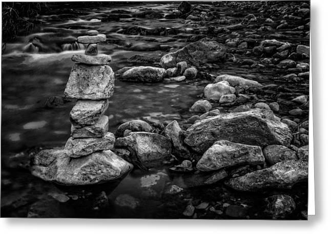 Zen Rock Stacking Greeting Cards - Rock Stack in Spearfish Creek Greeting Card by Digital Moments