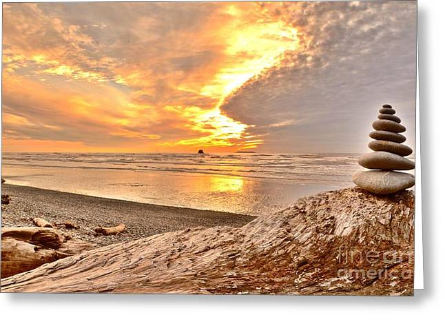 Zen Rock Stacking Greeting Cards - Rock Stacks at Sunset Greeting Card by Rachel Cash