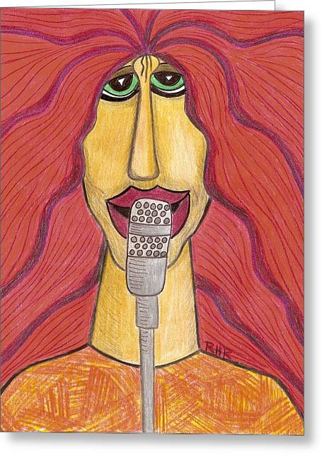 Pop Singer Drawings Greeting Cards - Rock Star Greeting Card by Ray Ratzlaff