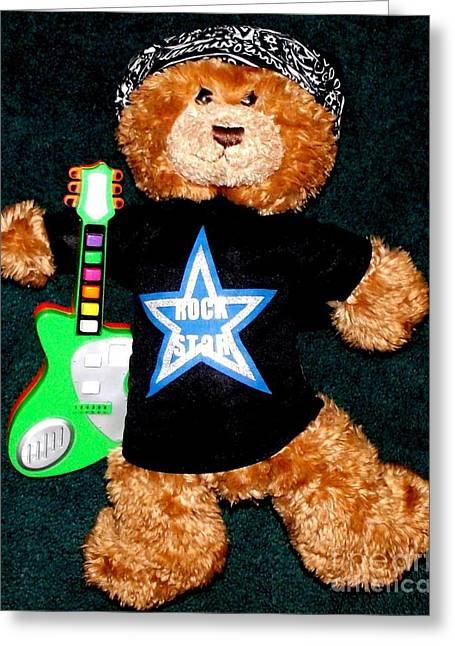 Rock Star Teddy Bear Greeting Card by Gail Matthews