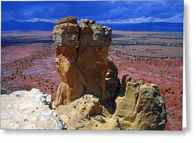 New Mexico Greeting Cards - Rock Statue Greeting Card by Mike Podhorzer