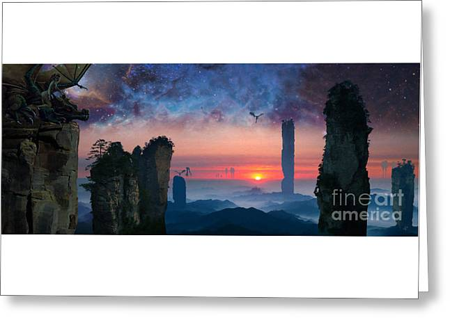 Dream Scape Greeting Cards - Rock Towers Greeting Card by Paul Davenport