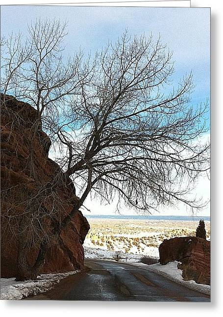 Denver Pyrography Greeting Cards - Rock Tree Sky  Greeting Card by Brian  Webster