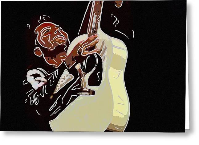 1950s Portraits Greeting Cards - Rockabilly electric guitar player  Greeting Card by Toppart Sweden