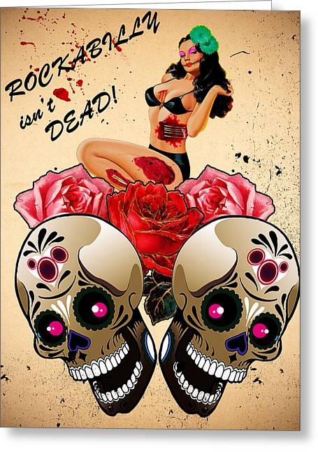 Rockabilly Digital Art Greeting Cards - Rockabilly Isnt Dead Greeting Card by Remo Clough