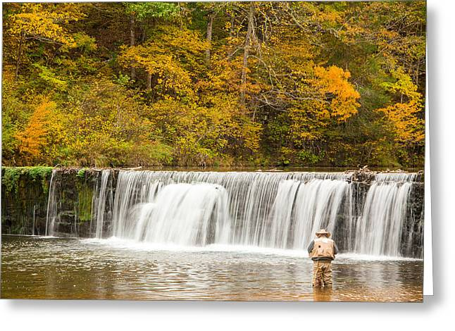 Rainbow Trout Greeting Cards - Rockbridge Fisherman Greeting Card by Steven Bateson