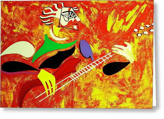 Guitare Greeting Cards - Rockcity Greeting Card by Pascalle Raymond