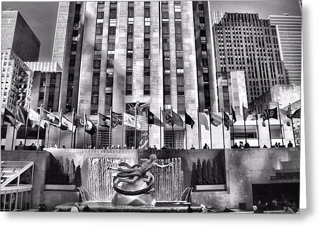 New Mind Greeting Cards - Rockefeller Center Black And White Greeting Card by Dan Sproul