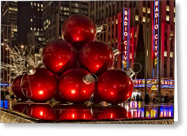 Christmas Cheer Greeting Cards - Rockefeller Center Cheer Greeting Card by Susan Candelario
