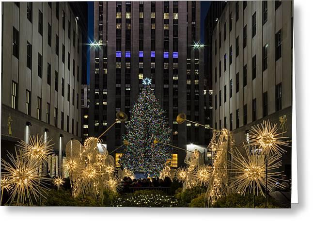 Christmastime Greeting Cards - Rockefeller Center Christmas Tree Greeting Card by Susan Candelario