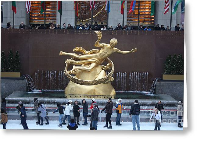 Ice-skating Greeting Cards - Rockefeller Center Ice Rink  Greeting Card by John Telfer