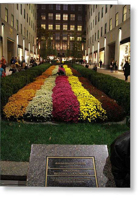 Streetlight Greeting Cards - Rockefeller Center In Autumn Greeting Card by Dan Sproul