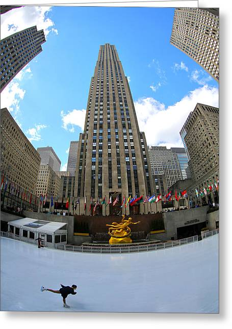 Prometheus Greeting Cards - Rockefeller Center Greeting Card by Mitch Cat