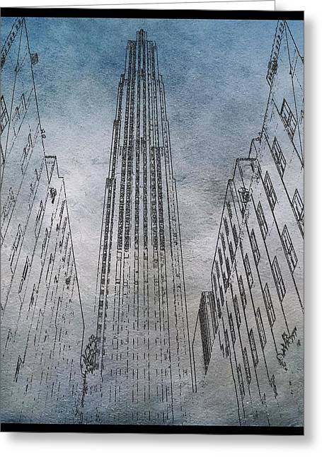 Times Square Digital Art Greeting Cards - GE Building Facade Sketch Greeting Card by Dan Sproul