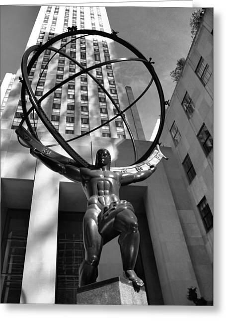 Height Greeting Cards - Atlas In Black And White Greeting Card by Dan Sproul
