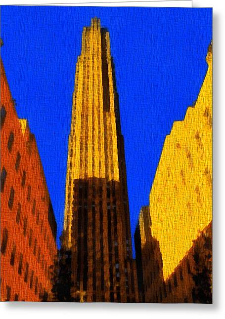 Tonight Greeting Cards - Rockefeller Plaza Pop Art Greeting Card by Dan Sproul
