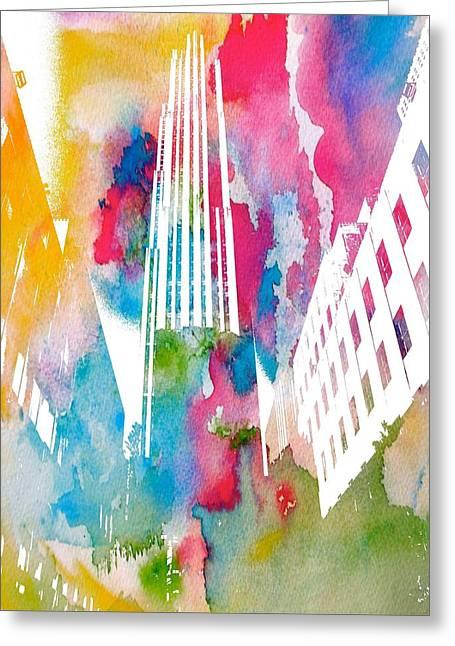 New Mind Digital Art Greeting Cards - Rockefeller Watercolor Greeting Card by Dan Sproul