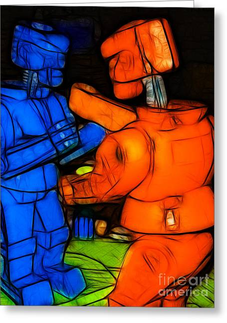 Rockem Sockem Robots - Color Sketch Style - Version 3 Greeting Card by Wingsdomain Art and Photography