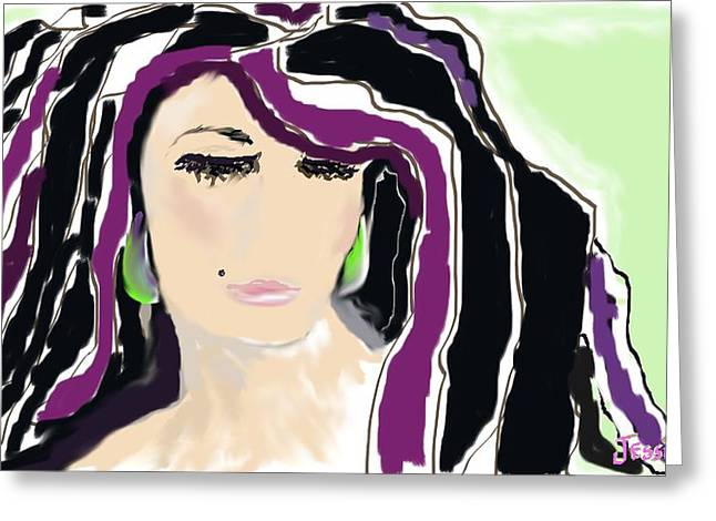 Beauty Mark Digital Greeting Cards - Rocker Girl Greeting Card by Jessica Wright