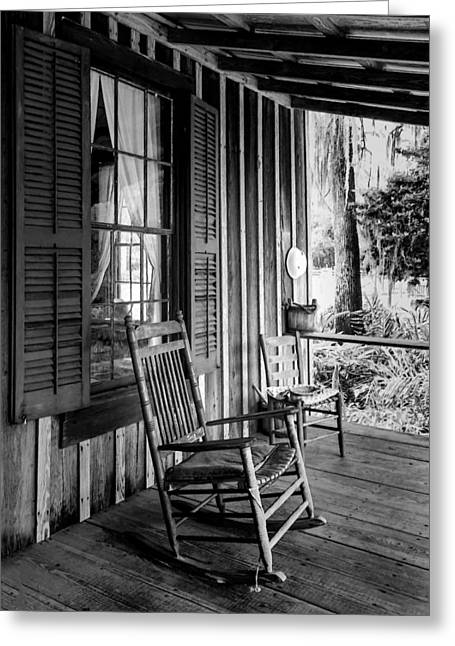 Ladder Back Chairs Greeting Cards - Rocker on the Veranda Greeting Card by Lynn Palmer
