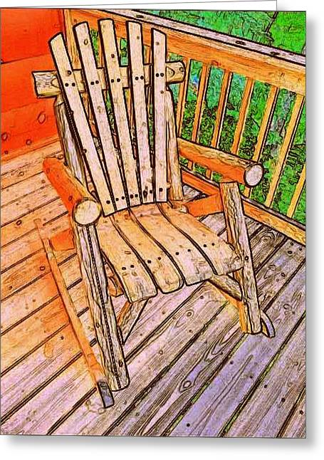 Mountain Cabin Drawings Greeting Cards - Rocker Greeting Card by Paul  Wilford