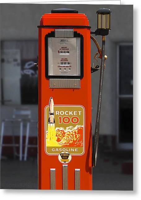 Rocket Greeting Cards - Rocket 100 Gasoline - Tokheim Gas Pump Greeting Card by Mike McGlothlen