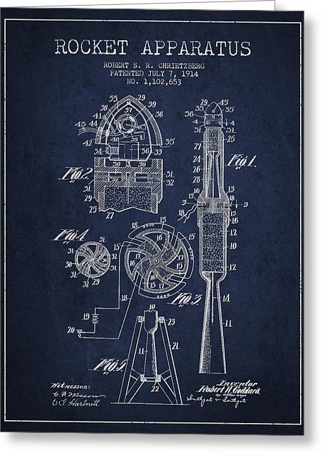 Rocket Greeting Cards - Rocket Apparatus Patent from 1914 Greeting Card by Aged Pixel