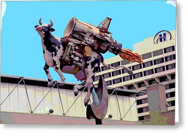 Rocket Cow Sculpture By Michael Bingham Greeting Card by Steve Ohlsen