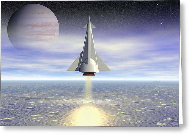 Outer Limits Greeting Cards - Rocket Launch Greeting Card by Phil Perkins