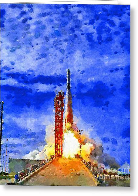 Outer Space Paintings Greeting Cards - Rocket launched Greeting Card by Magomed Magomedagaev