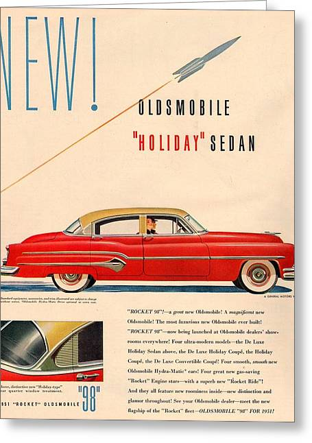 1951 Greeting Cards - Rocket Oldsmobile Greeting Card by Nomad Art And  Design