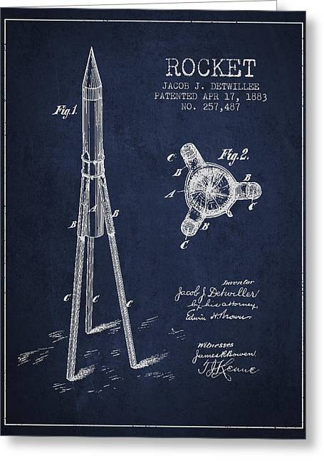 Spacecraft Greeting Cards - Rocket Patent Drawing From 1883 Greeting Card by Aged Pixel